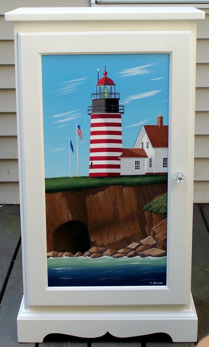 Hand Painted Maine Lighthouse Cabinets Furniture Painted