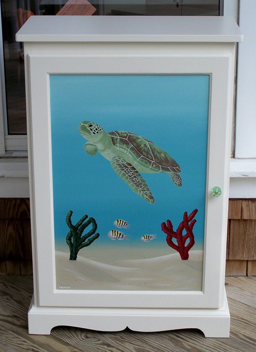 This Cabinet Is A Quality Piece Of Hand Painted Furniture That Features A  Detailed Hand Painted Underwater Scene Of A Green Sea Turtle Gliding