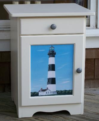 Cottage Style End Table Or Nightstand With Lighthouse Scene.